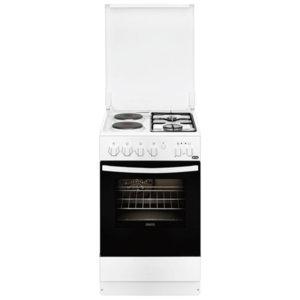 Комбинирана готварска печка Zanussi ZCM550G1WA, 2 газови и 2 електрически нагревателни зони, Клас А, Бяла